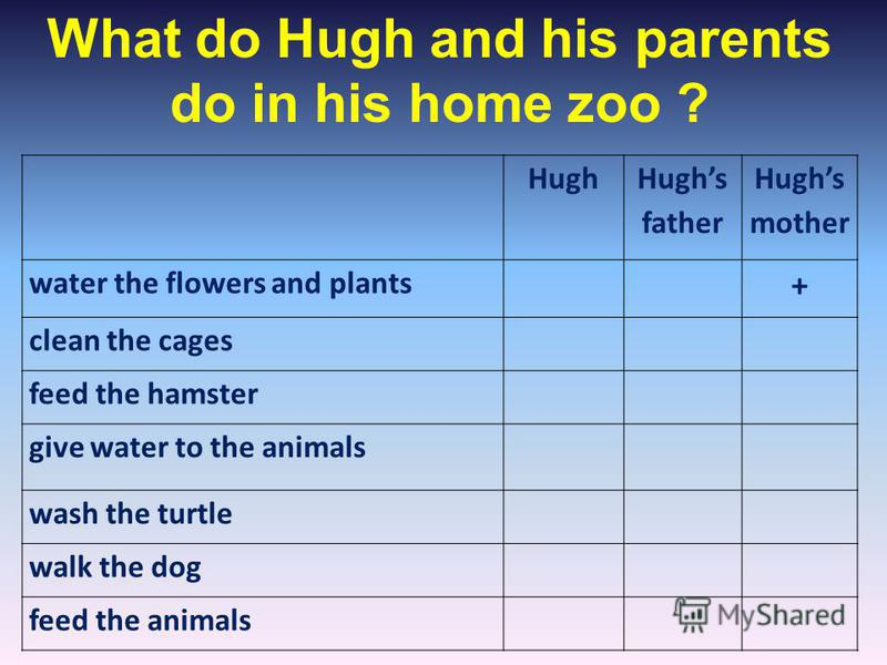 Hugh Hughs father Hughs mother water the flowers and plants + clean the cages feed the hamster give water to the animals wash the turtle walk the dog feed the animals What do Hugh and his parents do in his home zoo ?