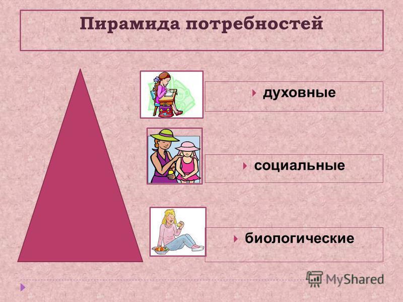 Пирамида потребностей биологические социальные духовные