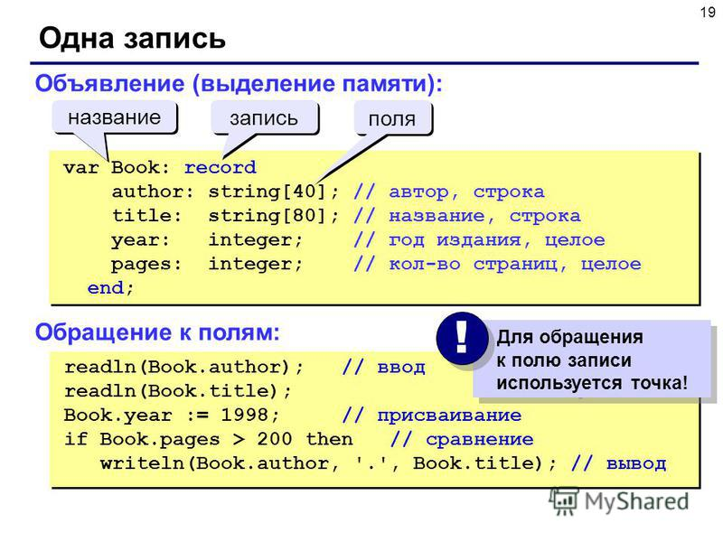 19 Одна запись readln(Book.author); // ввод readln(Book.title); Book.year := 1998; // присваивание if Book.pages > 200 then // сравнение writeln(Book.author, '.', Book.title); // вывод readln(Book.author); // ввод readln(Book.title); Book.year := 199