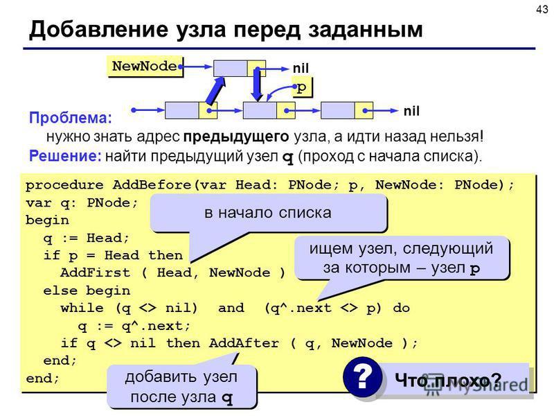 43 Проблема: нужно знать адрес предыдущего узла, а идти назад нельзя! Решение: найти предыдущий узел q (проход с начала списка). Добавление узла перед заданным NewNode p p nil procedure AddBefore(var Head: PNode; p, NewNode: PNode); var q: PNode; beg
