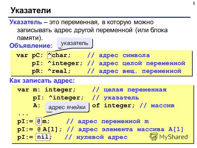 5 Указатели Указатель – это переменная, в которую можно записывать адрес другой переменной (или блока памяти). Объявление: Как записать адрес: var pC: ^char; // адрес символа pI: ^integer; // адрес целой переменной pR: ^real; // адрес вещ. переменной