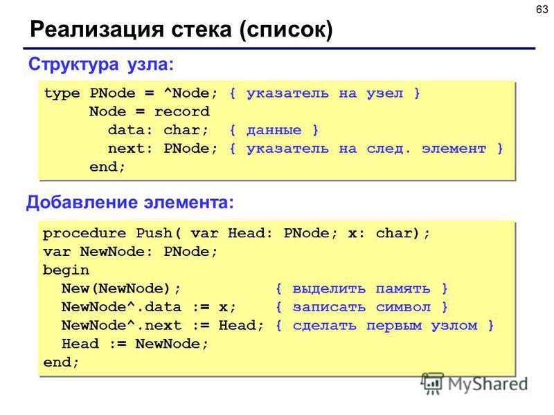 63 Реализация стека (список) Добавление элемента: Структура узла: type PNode = ^Node; { указатель на узел } Node = record data: char; { данные } next: PNode; { указатель на след. элемент } end; type PNode = ^Node; { указатель на узел } Node = record