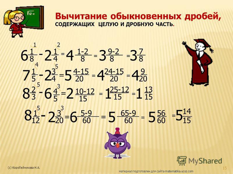 15 Вычитание обыкновенных дробей, СОДЕРЖАЩИХ ЦЕЛУЮ И ДРОБНУЮ ЧАСТЬ. 6 1 8 ___ - 2 1_ 4 = 4 ____ 8 1-2 = 3 8 ____9-2 = 3 7__ 8 12 7 1 5 - 2 3 4 = 5 _____ 20 4-15 = 4 _____ 20 24-15 = 4 9 __ 20 8 2 __ 3 - 6 4 5 = 2 15 ______ 10-12 = 1 15 ______ 25-12 =