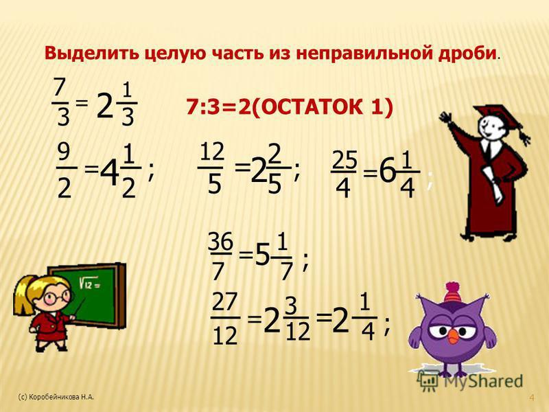 Выделить целую часть из неправильной дроби. 7 3 = 2 1 3 7:3=2(ОСТАТОК 1) 9 22 = 4 1 ; ; 12 55 = 2 2 ; 25 4 = 6 1 4 36 7 = 5 1 7 ; 27 12 = 2 3 = 2 1 4 ; 4 (с) Коробейникова Н.А.