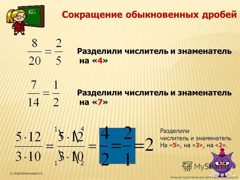 Сокращение обыкновенных дробей Разделили числитель и знаменатель на «4» Разделили числитель и знаменатель на «7» \ \ \ \ 14 12 Разделили числитель и знаменатель На «5», на «3», на «2». материал подготовлен для сайта matematika.ucoz.com 6 (с) Коробейн
