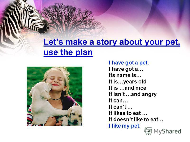 Lets make a story about your pet, use the plan I have got a pet. I have got a… Its name is… It is…years old It is …and nice It isnt …and angry It can… It cant … It likes to eat … It doesnt like to eat… I like my pet.