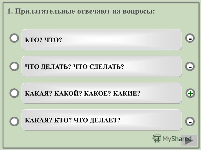 1. Прилагательные отвечают на вопросы: КТО? ЧТО? ЧТО ДЕЛАТЬ? ЧТО СДЕЛАТЬ? КАКАЯ? КАКОЙ? КАКОЕ? КАКИЕ? КАКАЯ? КТО? ЧТО ДЕЛАЕТ? - - + -