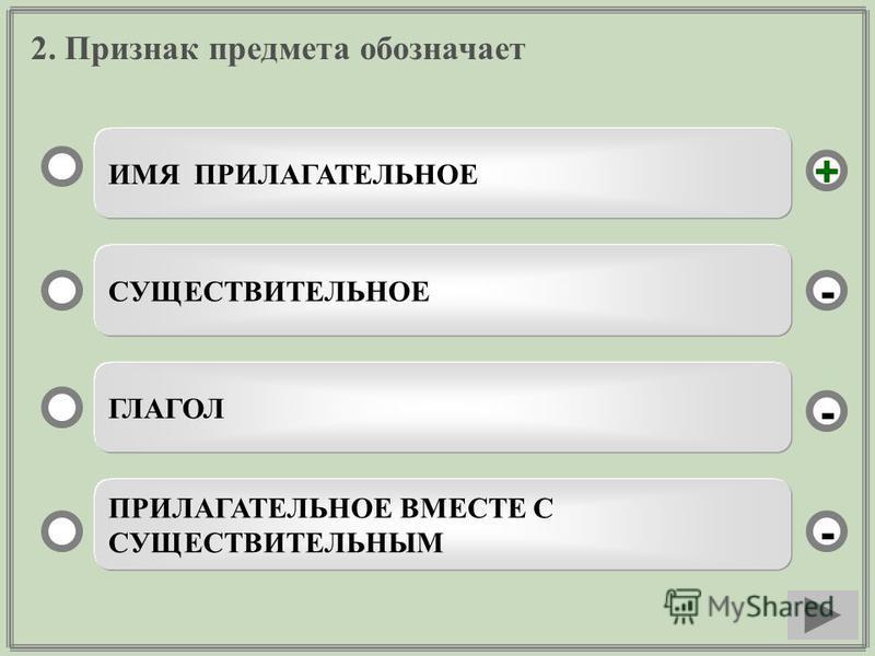 2. Признак предмета обозначает ИМЯ ПРИЛАГАТЕЛЬНОЕ СУЩЕСТВИТЕЛЬНОЕ ГЛАГОЛ ПРИЛАГАТЕЛЬНОЕ ВМЕСТЕ С СУЩЕСТВИТЕЛЬНЫМ - - + -