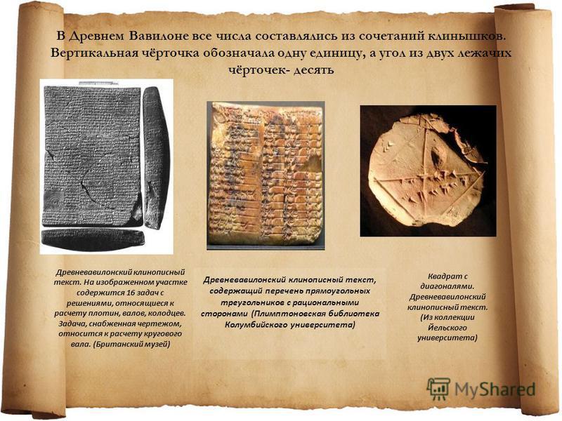 В Древнем Вавилоне все числа составлялись из сочетаний клинышков. Вертикальная чёрточка обозначала одну единицу, а угол из двух лежачих чёрточек- десять Древневавилонский клинописный текст, содержащий перечень прямоугольных треугольников с рациональн