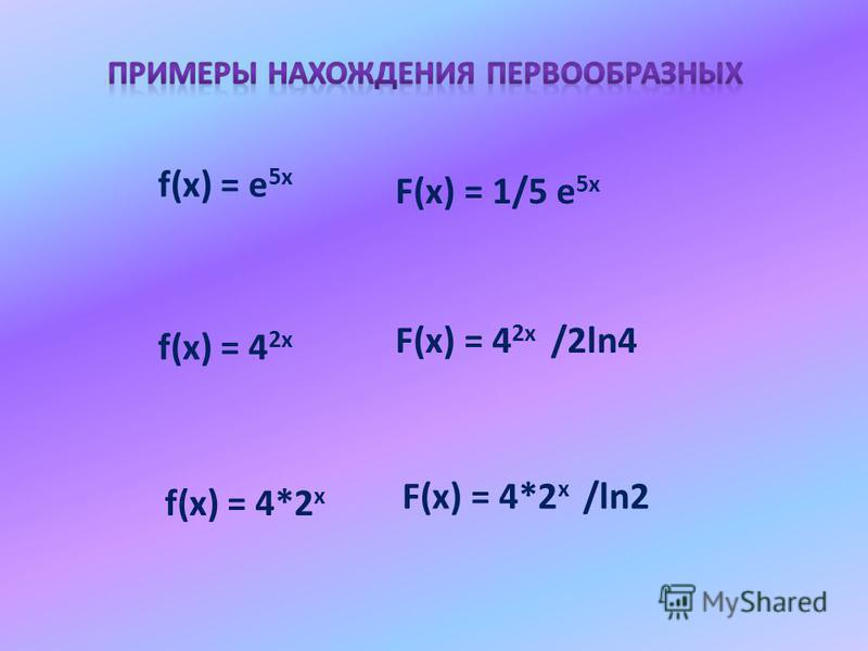 f(x) = е 5x F(x) = 1/5 е 5x f(x) = 4 2x F(x) = 4 2x /2ln4 f(x) = 4*2 x F(x) = 4*2 x /ln2