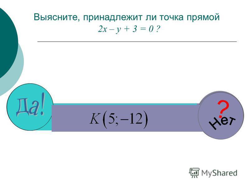 Выясните, принадлежит ли точка прямой 2 х – у + 3 = 0 ? ? ? ? ?