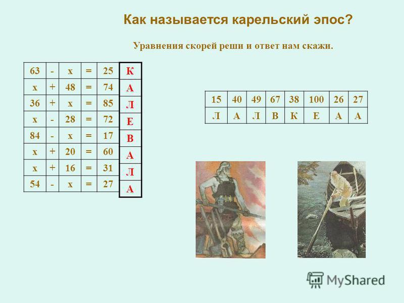 Как называется карельский эпос? 63-х=25 х+48=74 36+х=85 х-28=72 84-х=17 х+20=60 х+16=31 54-х=27 15404967381002627 ЛАЛВКЕАА К А Л Е В А Л А Уравнения скорей реши и ответ нам скажи.