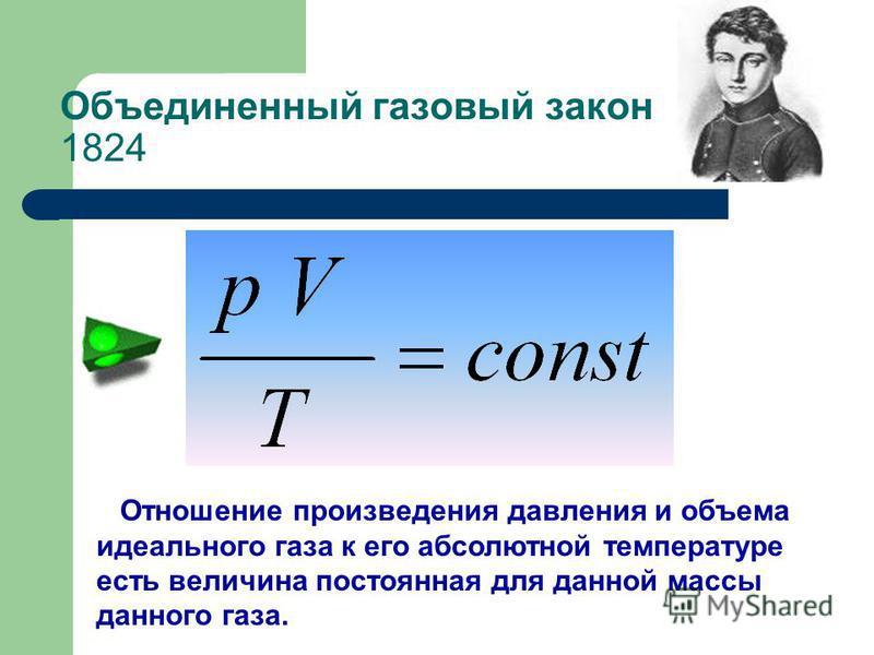 Отношение произведения давления и объема идеального газа к его абсолютной температуре есть величина постоянная для данной массы данного газа. Объединенный газовый закон 1824