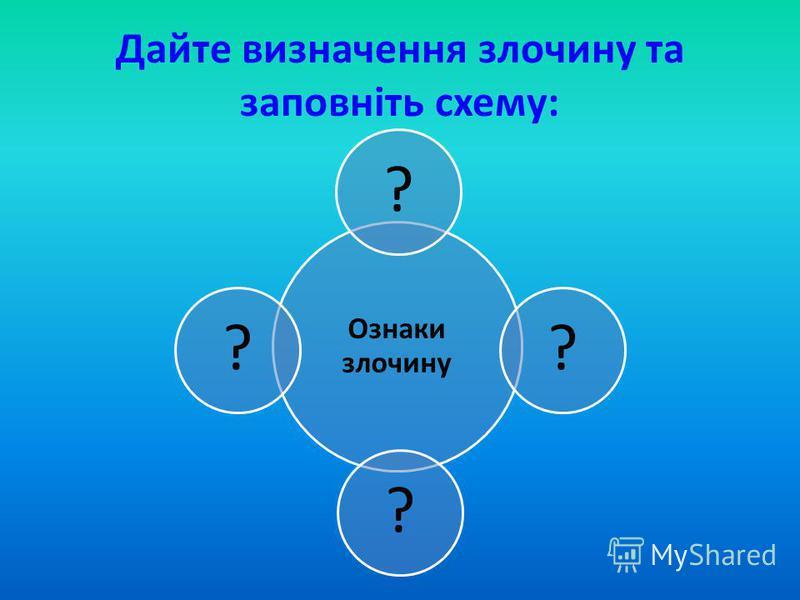 Дайте визначення злочину та заповніть схему: Ознаки злочину ????