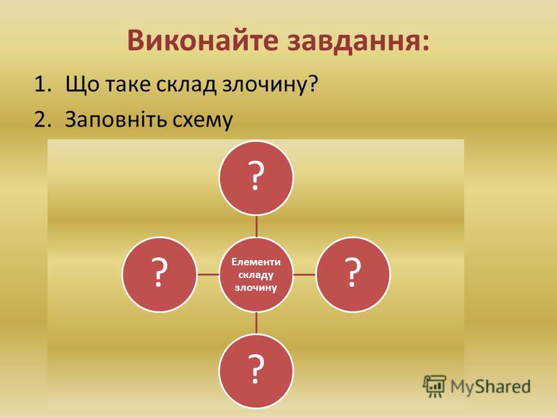 Виконайте завдання: 1.Що таке склад злочину? 2.Заповніть схему Елементи складу злочину ????