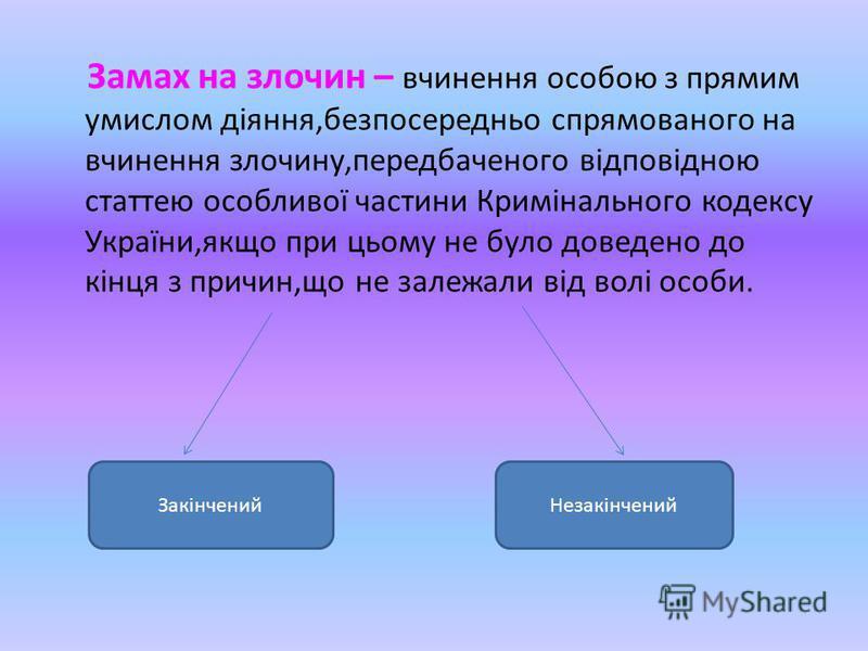Замах на злочин – вчинення особою з прямим умислом діяння,безпосередньо спрямованого на вчинення злочину,передбаченого відповідною статтею особливої частини Кримінального кодексу України,якщо при цьому не було доведено до кінця з причин,що не залежал