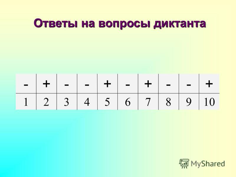 10987654321 +--+-+--+- Ответы на вопросы диктанта