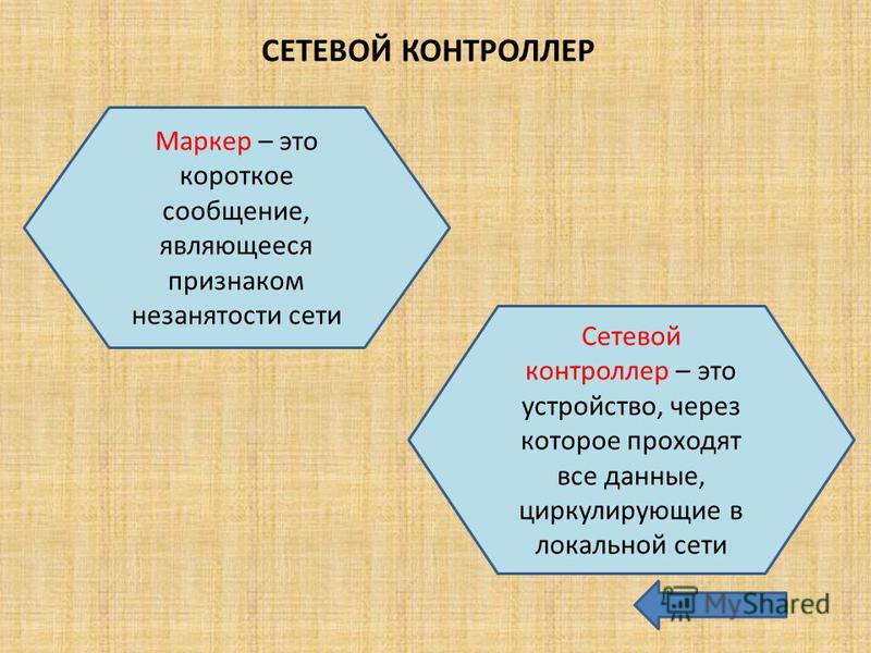 СЕТЕВОЙ КОНТРОЛЛЕР Маркер – это короткое сообщение, являющееся признаком незанятости сети Сетевой контроллер – это устройство, через которое проходят все данные, циркулирующие в локальной сети