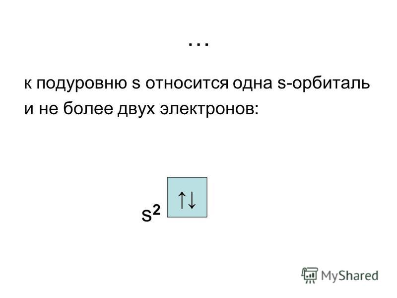 … к подуровню s относится одна s-орбиталь и не более двух электронов: s 2