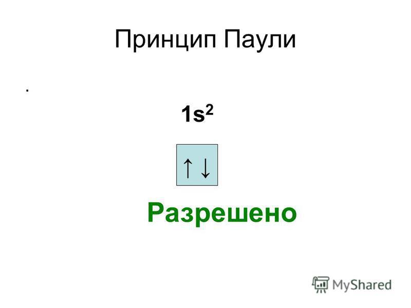 Принцип Паули. Разрешено 1s2 1s2