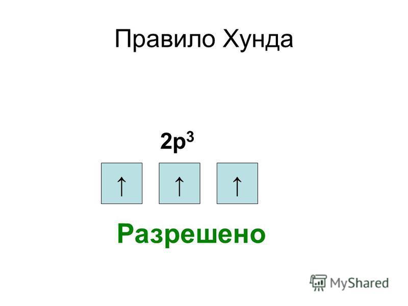 Правило Хунда 2 р 3 Разрешено