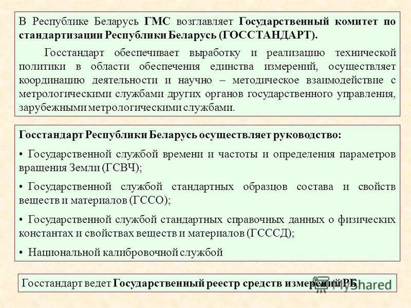 В Республике Беларусь ГМС возглавляет Государственный комитет по стандартизации Республики Беларусь (ГОССТАНДАРТ). Госстандарт обеспечивает выработку и реализацию технической политики в области обеспечения единства измерений, осуществляет координацию