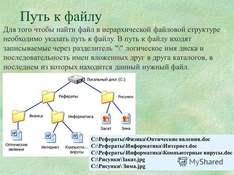8 Путь к файлу Для того чтобы найти файл в иерархической файловой структуре необходимо указать путь к файлу. В путь к файлу входят записываемые через разделитель