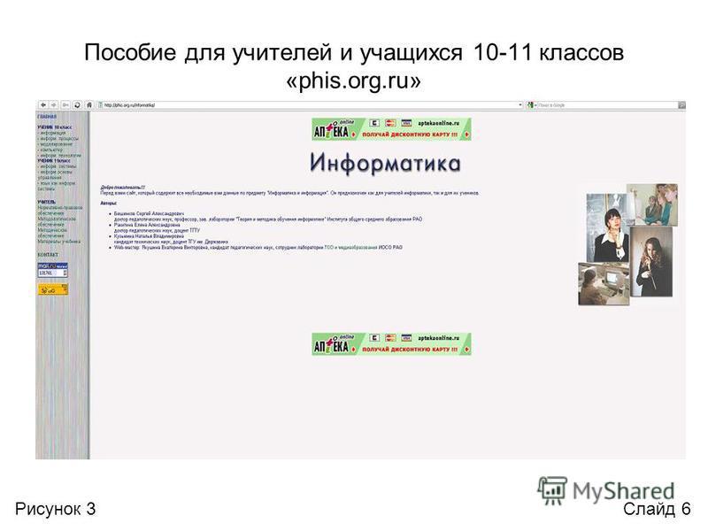 Пособие для учителей и учащихся 10-11 классов «phis.org.ru» Слайд 6Рисунок 3