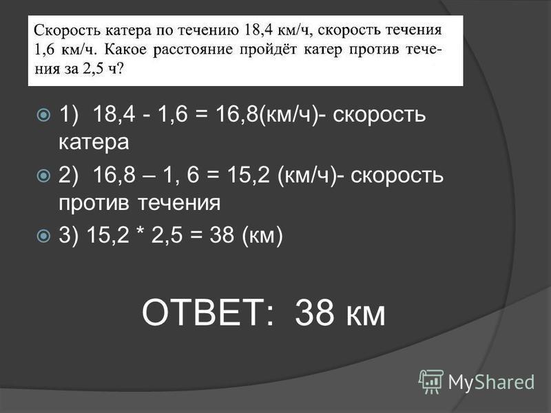 1) 18,4 - 1,6 = 16,8(км/ч)- скорость катера 2) 16,8 – 1, 6 = 15,2 (км/ч)- скорость против течения 3) 15,2 * 2,5 = 38 (км) ОТВЕТ: 38 км