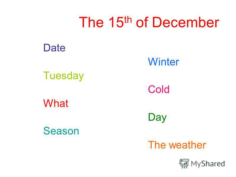The 15 th of December Date Winter Tuesday Cold What Day Season The weather