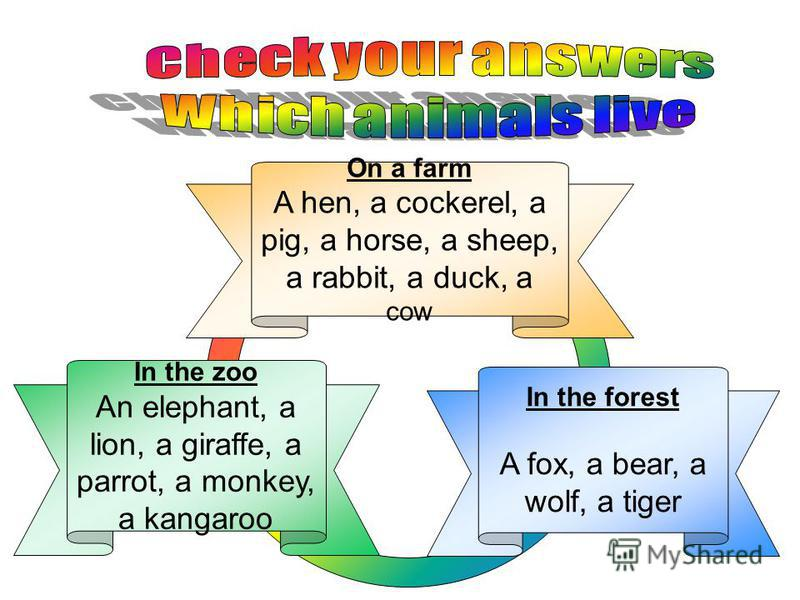 In the forest A fox, a bear, a wolf, a tiger In the zoo An elephant, a lion, a giraffe, a parrot, a monkey, a kangaroo On a farm A hen, a cockerel, a pig, a horse, a sheep, a rabbit, a duck, a cow