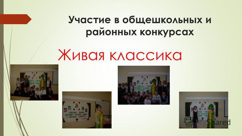 Участие в общешкольных и районных конкурсах Живая классика