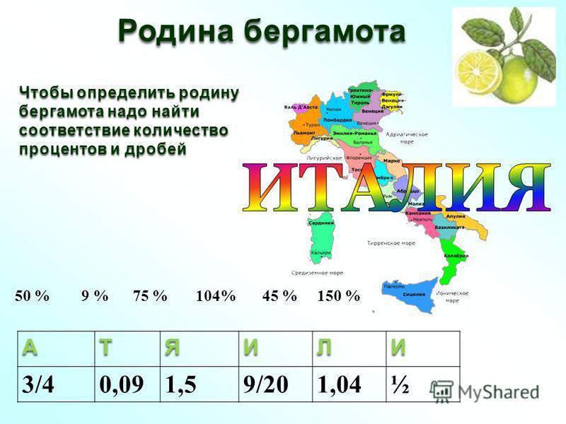 Родина бергамота Чтобы определить родину бергамота надо найти соответствие количество процентов и дробей 50 % 9 % 75 % 104% 45 % 150 %АТЯИЛИ 3/40,091,59/201,04½