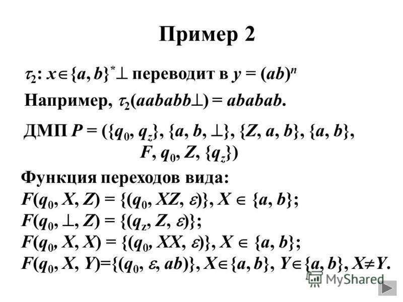 Пример 2 2 : x {a, b} * переводит в y = (ab) n Например, 2 (aababb ) = ababab. ДМП P = ({q 0, q z }, {a, b, }, {Z, a, b}, {a, b}, F, q 0, Z, {q z }) Функция переходов вида: F(q 0, X, Z) = {(q 0, XZ, )}, X {a, b}; F(q 0,, Z) = {(q z, Z, )}; F(q 0, X,