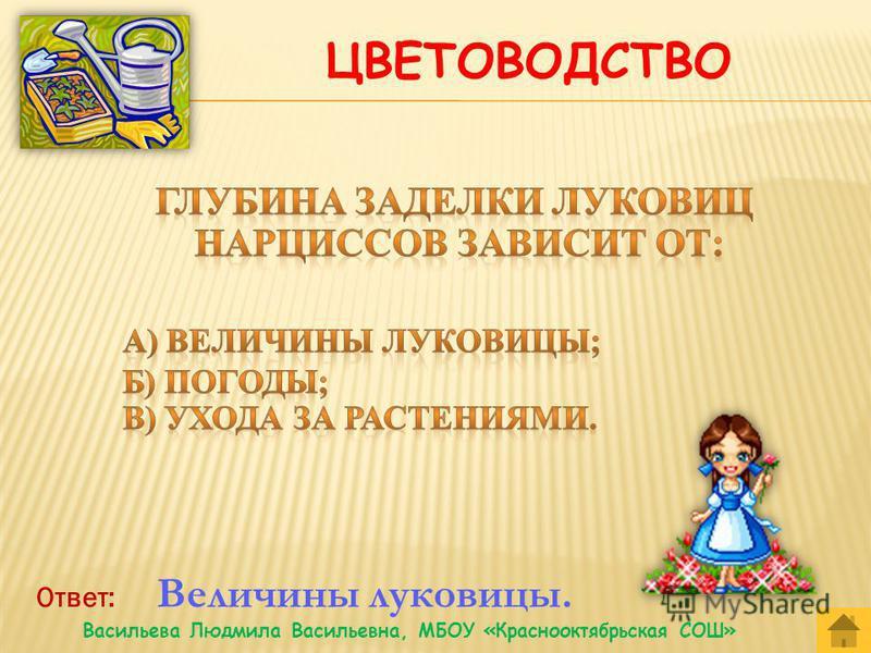 Ответ: Многолетникам. Васильева Людмила Васильевна, МБОУ «Краснооктябрьская СОШ»