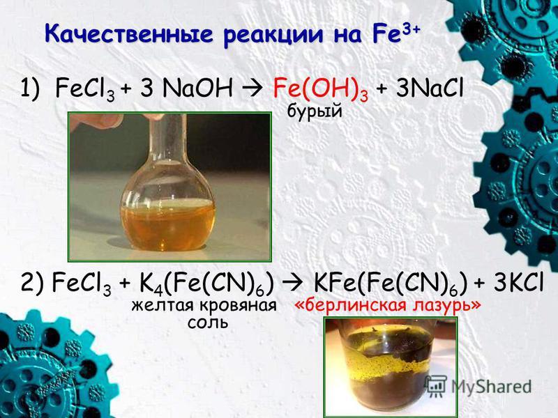 Качественные реакции на Fe 3+ 1) FeCl 3 + 3 NaOH Fe(OH) 3 + 3NaCl бурый 2) FeCl 3 + K 4 (Fe(CN) 6 ) KFe(Fe(CN) 6 ) + 3KCl желтая кровяная «берлинская лазурь» соль