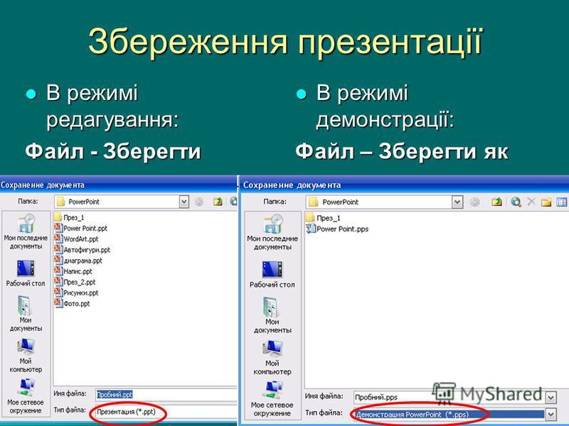 Збереження презентації В режимі редагування: В режимі редагування: Файл - Зберегти В режимі демонстрації: В режимі демонстрації: Файл – Зберегти як