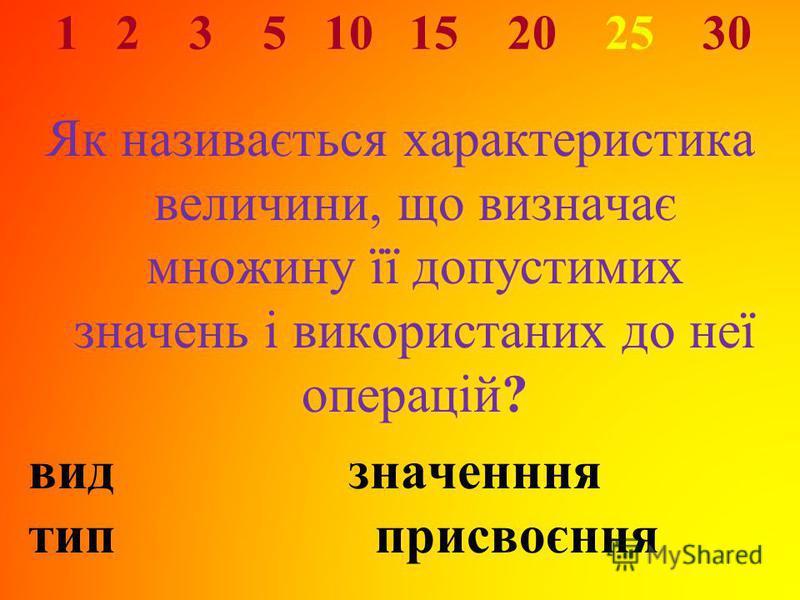 1 2 3 5 10 15 20 25 30 Як називається характеристика величини, що визначає множину її допустимих значень і використаних до неї операцій? видзначенння тип присвоєння