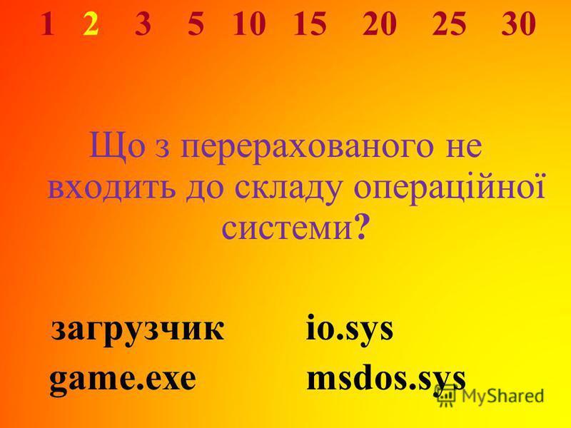 1 2 3 5 10 15 20 25 30 Що з перерахованого не входить до складу операційної системи? загрузчикio.sys game.exemsdos.sys