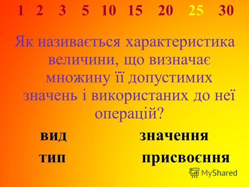 1 2 3 5 10 15 20 25 30 Як називається характеристика величини, що визначає множину її допустимих значень і використаних до неї операцій? видзначення тип присвоєння