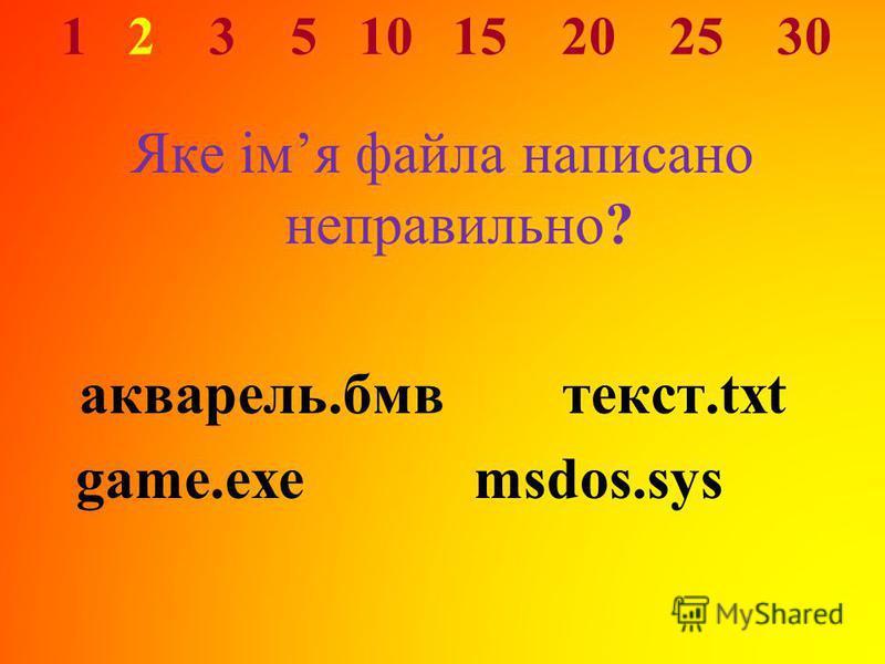1 2 3 5 10 15 20 25 30 Яке імя файла написано неправильно? акварель.бмвтекст.txt game.exemsdos.sys