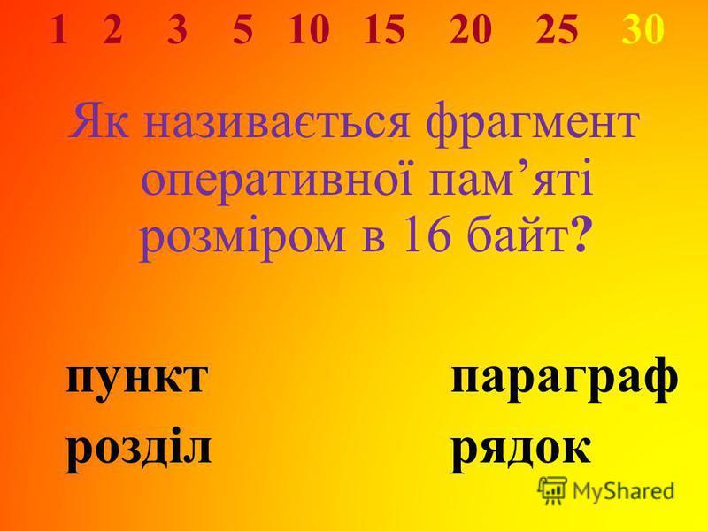 1 2 3 5 10 15 20 25 30 Як називається фрагмент оперативної памяті розміром в 16 байт? пунктпараграф розділрядок