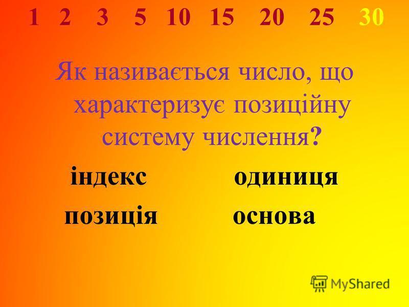 1 2 3 5 10 15 20 25 30 Як називається число, що характеризує позиційну систему числення? індексодиниця позиція основа