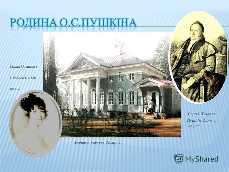 Надія Осипівна Ганнібал, мати поета Сергій Львович Пушкін, батько поета Будинок бабусі в Захарово