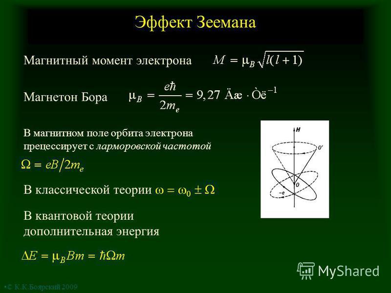 Эффект Зеемана Магнетон Бора Магнитный момент электрона В магнитном поле орбита электрона прецессирует с ларморовской частотой В классической теории 0 В квантовой теории дополнительная энергия © К.К.Боярский 2009