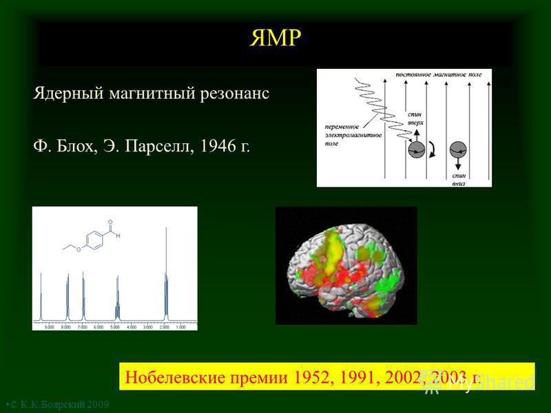 ЯМР Ядерный магнитный резонанс Ф. Блох, Э. Парселл, 1946 г. Нобелевские премии 1952, 1991, 2002, 2003 г. © К.К.Боярский 2009