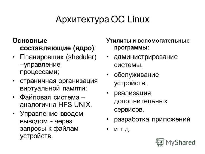 Архитектура ОС Linux Основные составляющие (ядро): Планировщик (sheduler) –управление процессами; страничная организация виртуальной памяти; Файловая система – аналогична HFS UNIX. Управление вводом- выводом - через запросы к файлам устройств. Утилит