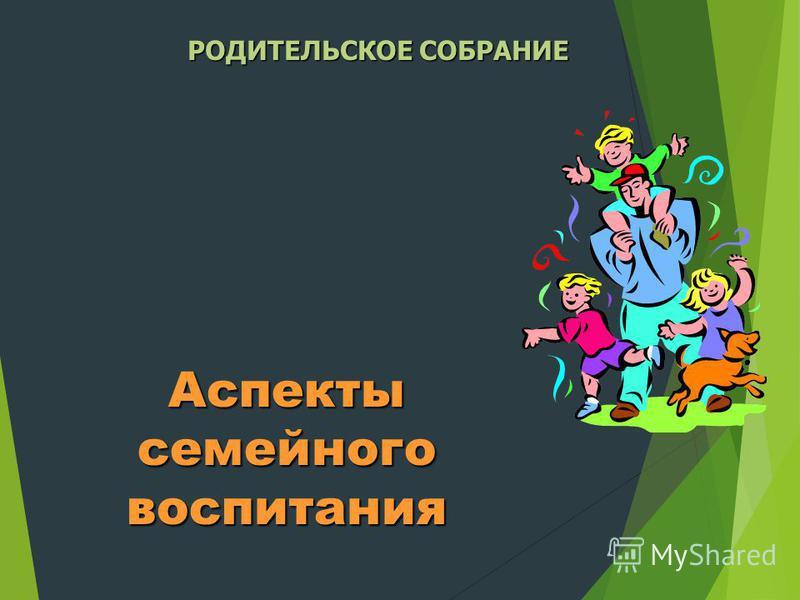 Аспекты семейного воспитания РОДИТЕЛЬСКОЕ СОБРАНИЕ