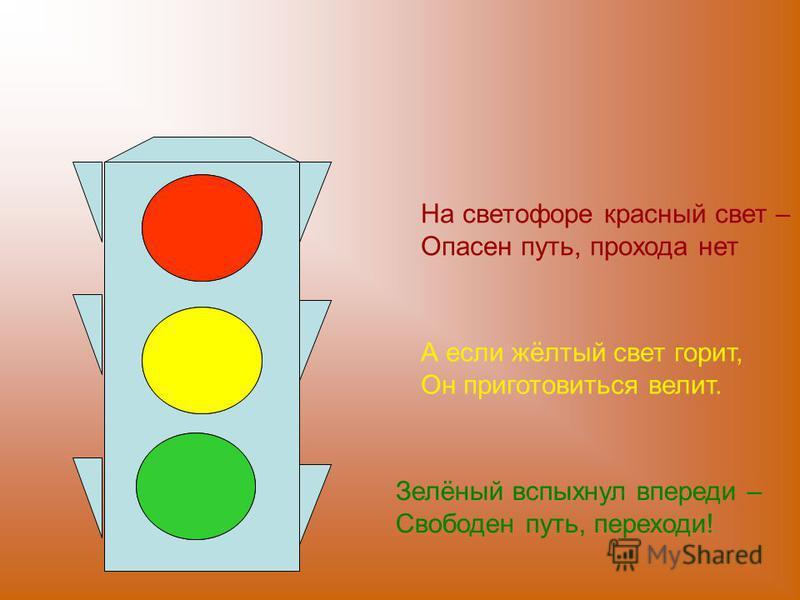 На светофоре красный свет – Опасен путь, прохода нет А если жёлтый свет горит, Он приготовиться велит. Зелёный вспыхнул впереди – Свободен путь, переходи!