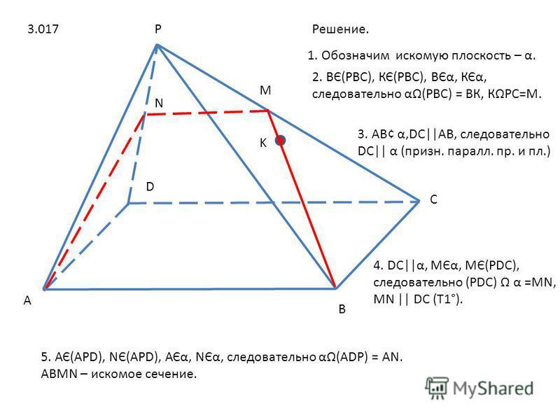A B C D P K M N Решение. 2. ВЄ(РВС), КЄ(РВС), ВЄα, КЄα, следовательно α(РВС) = ВК, КРС=М. 1. Обозначим искомую плоскость – α. 3. АВ¢ α,DС||АВ, следовательно DС|| α (призн. пароль. пр. и пл.) 4. DС||α, МЄα, МЄ(РDС), следовательно (РDС) α =МN, МN || DС